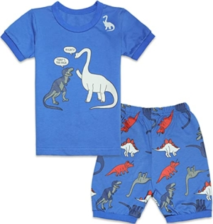Pijama de dinosaurios azul manga corta