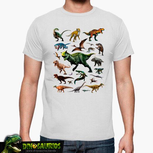 camiseta mural dinosaurios hombre blanca