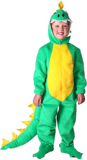 disfraz de dinosaurio para ninos color verde y amarillo. para ninos de 5 a 7 anos