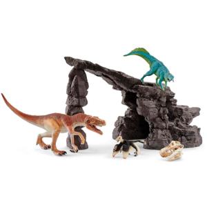 set de dinosaurios con cueva herrerasaurio psittacosaurio y microrraptor schleich 41461
